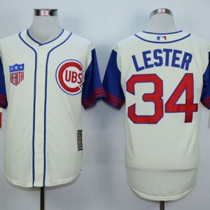 6b3fdadf4ab Cubs  34 Jon Lester Cream 1942 Turn Back The Clock Stitched MLB Jersey
