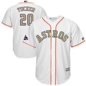 b4c61174e Astros #20 Preston Tucker White 2018 Gold Program Cool Base Stitched Youth MLB  Jersey