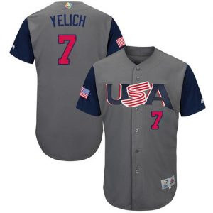 6caead1b6 Team USA  7 Christian Yelich Gray 2017 World MLB Classic Authentic Stitched  Youth MLB Jersey